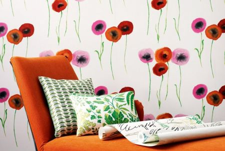 Обои Colour for Living Poppies 211666, Ткань Colour For Living Rainforest 221312, Ткань Colour For Living Tribeca 221301